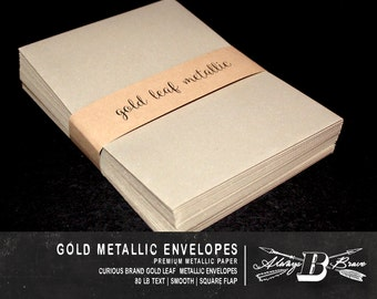 25 Gold Metallic A7 Envelopes | Invitation Envelope | 5 1/4 x 7 1/4 fits 5 x 7 Invitation | Curious Gold Leaf Envelope | Gold A7 Envelope