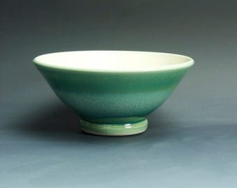 Handmade pottery bowl jade green porcelain serving  or salad bowl - 3331