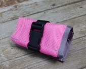 Saddle Tool Roll - Pink diamond ripstop with gray trim