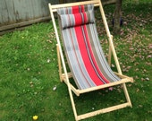 Grey and red striped Handmade Deck Chair