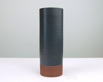 Nakano Toen Japanese Modernist Vase Black and Brown Ikebana Cylinder