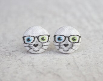 Nerd Cat Fabric Button Earrings