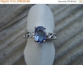 ON SALE 14kt white gold tanzanite and diamond ring