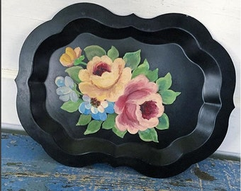 Vintage Tole Tray, Vintage Floral Tray, Vintage Tin Tray, Vintage Metal Tray, Vintage Flower Tray, Flower Tray, Black Tole Painted Tray