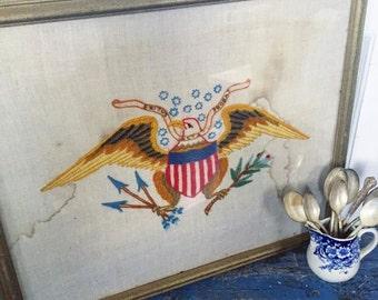 Vintage Patriotic Eagle Crewel, Vintage Framed Eagle, Framed Eagle Glass, Vintage Flag Crewel