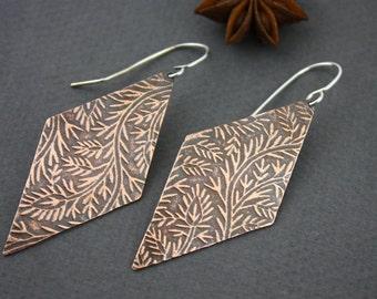Botanical copper earrings