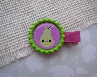 Kawaii Pear . bottlecap clippies . girls hair accessory . fuchsia green