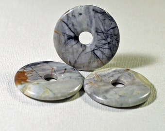 Picasso marble donut pendants, 40mm - #1273