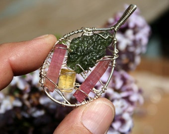 Red Tourmaline, Moldavite and Heliodor Crystal Pendant wrapped in Sterling Silver