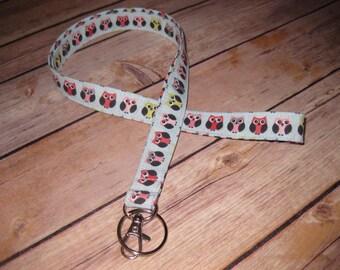 Lanyard ID Badge Holder / Keychain -Blue Pink Grey Owls - Hoot