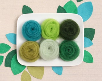 Wool Roving  // Green Palette // Corriedale Roving, Needle Felting, Succulent Colors, Green Craft Colors, Cactus Crafts, Felted Trees