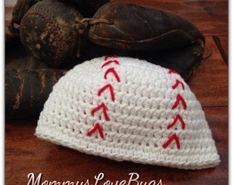 Play Ball - Baseball Crochet Beanie