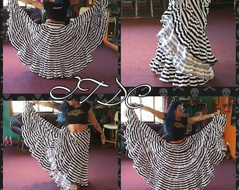 25yd Tiered Cotton Black and White Striped Skirt
