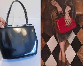 No Charcoals in Her Stocking - Vintage 1950s Charcoal Grey Gray Patent Leather Handbag