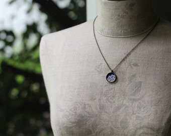 Tiny Necklace With Lace, Navy Bridesmaid Jewelry, Classic Small Pendant, Blue and White Wedding, Navy Lace Necklace, Fabric Lace Pendant