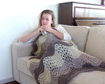 Knit rug hand knit blanket  gray knit throw blanket afghan throw knee rug