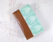 Aqua Arrow Business Card Holder. Fabric & Leather Card Holder. Business Card Case. Gift Card Holder Wallet. Small Wallet. Tribal Cardholder