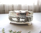 Vintage Silver Trinket Box Small Jewelry Box  Ring Box Engagement Box Silver Roses from AllieEtCie