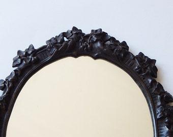 vintage mirror cast iron mirror nature leaf design