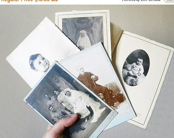 SALE 20% french photo lot 5 antique and vintage photos