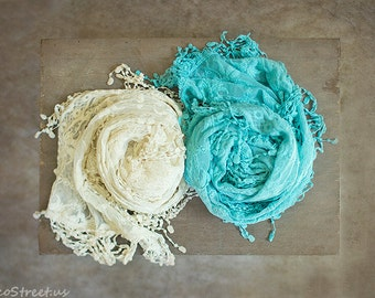 Cream Wrap, Aqua Wrap, Baby Lace Wrap, Baby Girl Cocoon Wrap, Mesh, Vintage Baby Girl Prop, newborn Props, RTS, Cotton Wrap, Baby Props