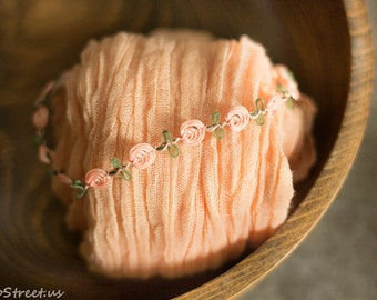 Baby Wrap and Baby Headband Set, Peach Cheesecloth and Baby Headband, Organic Props, Baby Girl Photo Prop, Newborn Props, Baby Halo