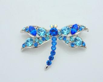 Blue RHINESTONE DRAGONFLY Pin Brooch vintage 1970s