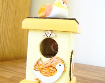 Unique Original Decorative Birdhouse with Surprise Inside - Pastel Yellow & Orange - Shingled Roof with a Bird on Top and on Each Side