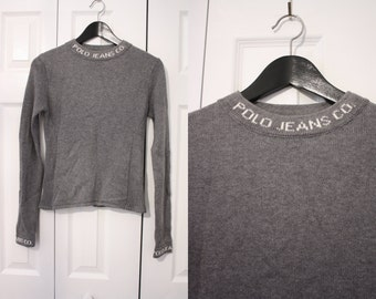 90s Ralph Lauren Polo Jeans Sweater / Grey Sweater