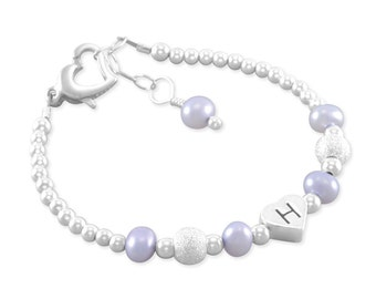 Baby Girl Gift, Name Bracelet, heart letter, Sterling silver, sparkle, first birthday gift, present, purple pearls, jewelry, children HAVANA