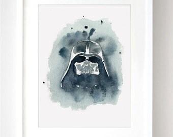 Darth Vader Mask - Star Wars - Watercolor - Fine Art Print