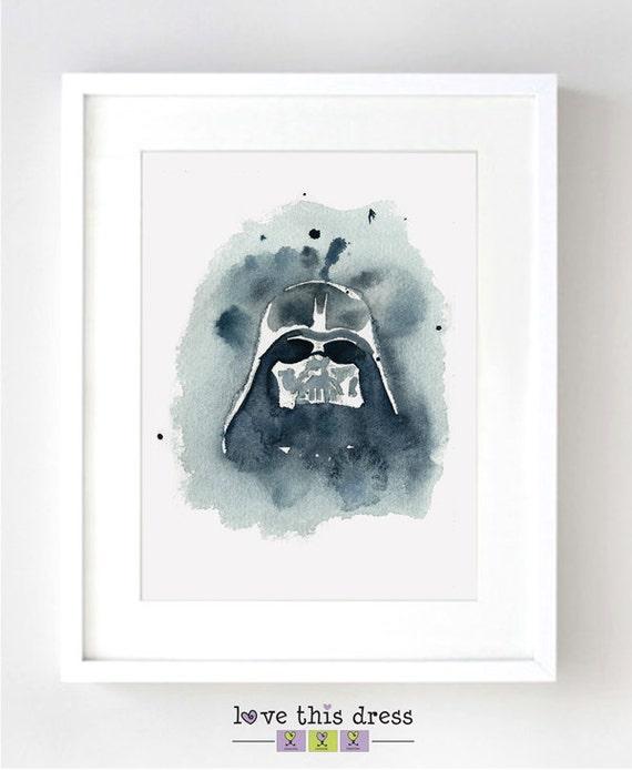 Darth Vader Mask Star Wars Watercolor Fine Art Print