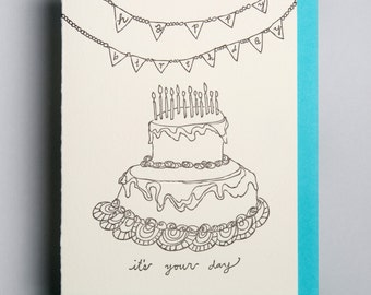 "letterpress card,  ""Happy Birthday, it's your day"""