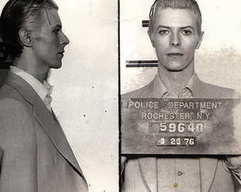 David Bowie Mugshot, 1976, Poster, Archival Quality Print