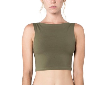 Olive Crop Top -  Organic Yoga Top - Yoga Top - Yoga Clothing - Crop Top - Green Top - Rave Top
