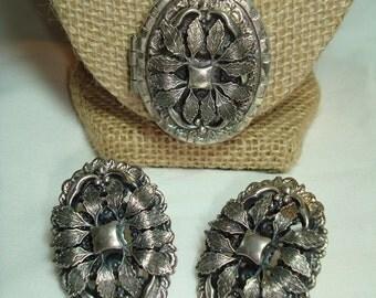 1940s Embossed Heavy Silver Tone Locket and Earrings Set.
