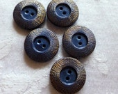 Antique Vintage Czech's Buttons, Blue and Gold 2 Hole Buttons,  Gold Luster, from Czechoslovakia  1930's, 5 in lot