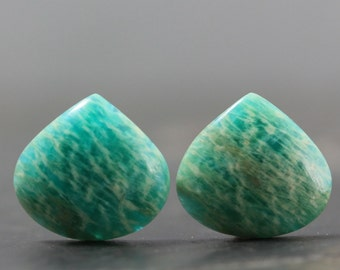 CLEARANCE Amazonite Pair, Sea Green Cabochon, Semiprecious Healing Crystals Beads Pendants Stone of Courage Custom Jewelry (11427)