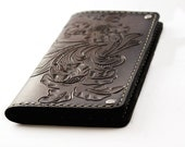 Mens Leather Wallet Traditional Sheridan Design Hand Tooled Leather Wallet Unique Wallet Personalized Floral Pattern
