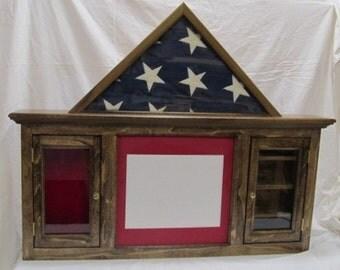 Flag, Document, Shadow Box and Shell Casing Display - 5x9 Burial Casket Flag - Poplar, Dark Walnut Finish - Wall Display
