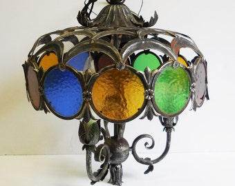Vintage Chandelier Stained glass circles black metal Blue Green Yellow Red wrought iron Ceiling lamp fixture Made in Italy