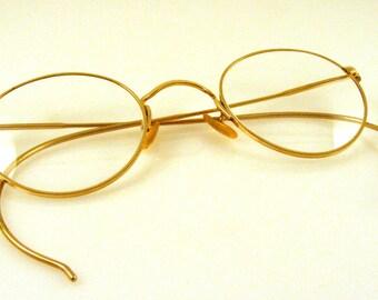 Eyeglasses 12K Gold Filled - Bausch and Lomb - Hibo - Round P3 Shape - Vintage Frames - Prescription Glasses - Vtg Eyewear - Case Included