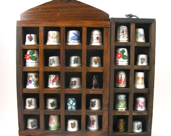 Large Vintage Thimble Collection with Display Cases Set of 30 Old Sewing Finger Guards Porcelain Metal Avon Nepal Disney Inlaid Limoges
