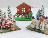 Lot of Accordian-Style Christmas Decorations, Nativity, Santas and Snowmen