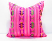 Pink Pillow, Tribal Pillows Covers, Colorful Pillow Covers, Bohemian Decor, Boho Bedding, Mexican Cushion, Square, tribal pillowcase
