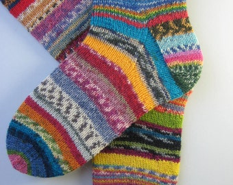 hand knitted womens wool socks, UK 6-8 US 8-10, knitted crazy socks, fun odd socks, muticolored socks, mismatched socks, unique socks