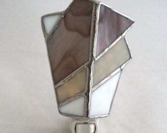 Taupe and White Hand Crafted Abstract Stained Glass Nightlight