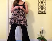 Plus size XL stretch black ruffled upcycle refashion pants bloomers gypsy pants lagenlook