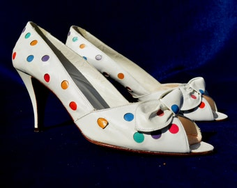 Vintage 80's polka dots leather OLEG CASSINI open toe shoes pumps sexy kitten heels size 10 by thekaliman