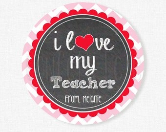Teacher Gift Tags, Love my Teacher Tag, Valentine's Day Tags, Teacher Appreciation, Pink and Red, Personalized